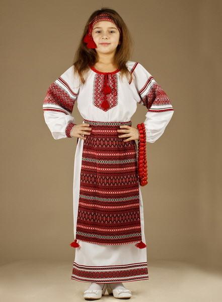 Костюмы детские украинские национальные Женское платье - вышиванка ЖП 32