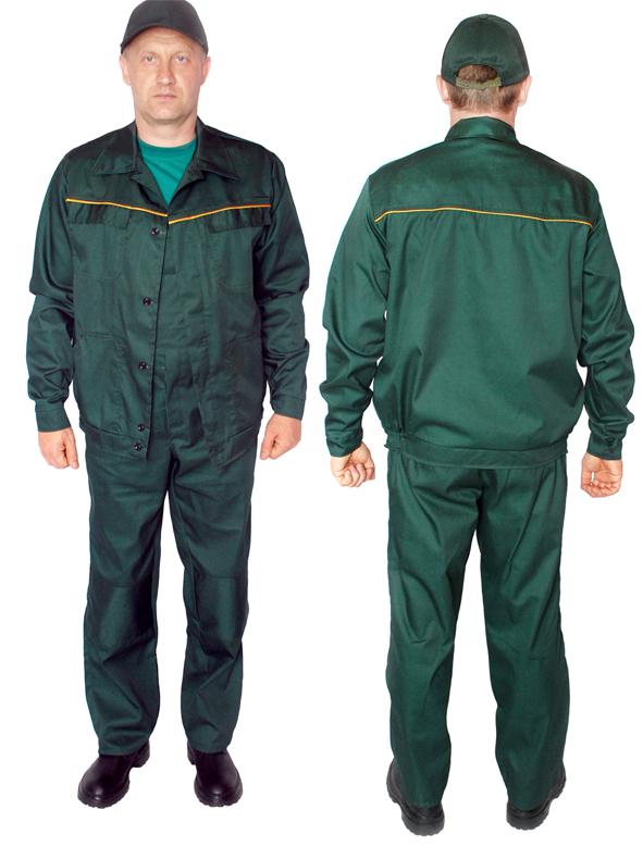 Костюм рабочий: куртка/полукомбинезон. Материал- саржа, пл. 250 г/м, цвет зеленый и синий.