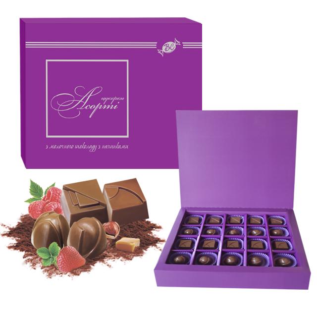 Купить Конфеты шоколадные ассорти с начинками в коробке/Assorted chocolate candies with different flavours