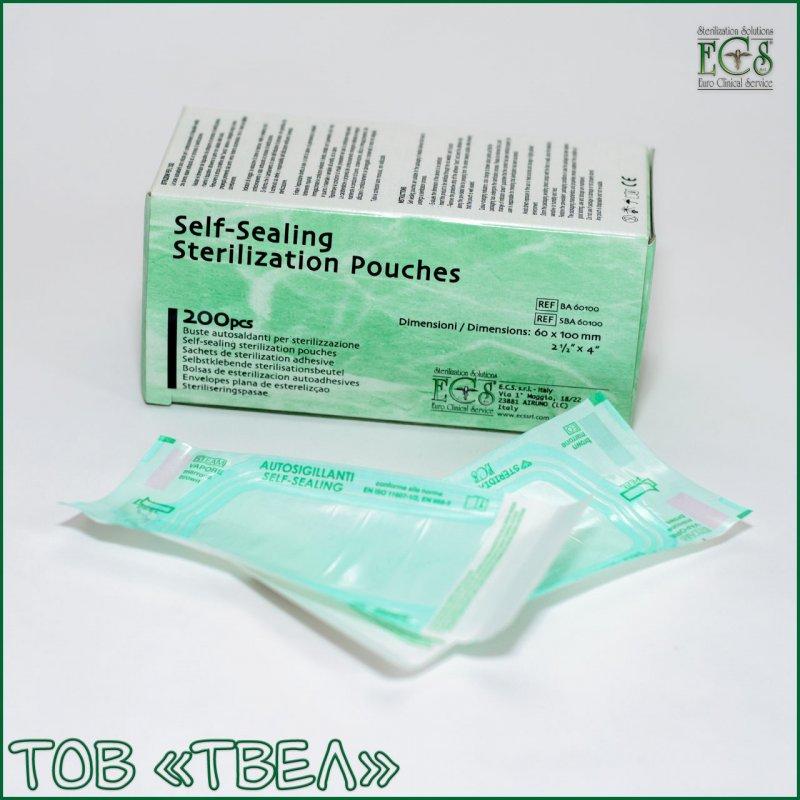 Самогерметизирующиеся пакеты для паровой и ЭО стерилизации Steridiamond / 75х250 мм, 200 шт. ECS