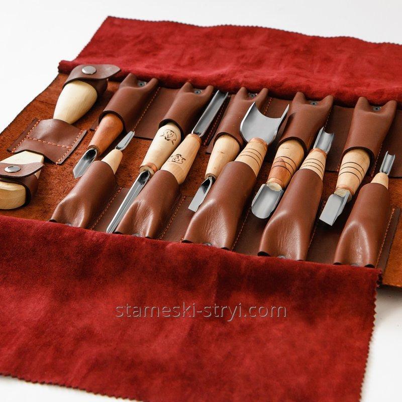 Кожаный чехол STRYI ручной работы для хранения инструментов на 12 штук, арт.199995