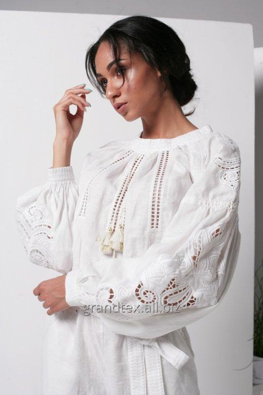Buy Suit female women white trouser light with embroidery boho linen richelieu 100% handmade AnnaBo collection