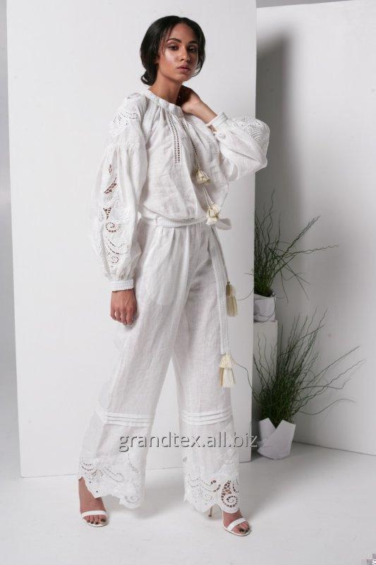 Suit female women white trouser light with embroidery boho linen richelieu 100% handmade AnnaBo collection