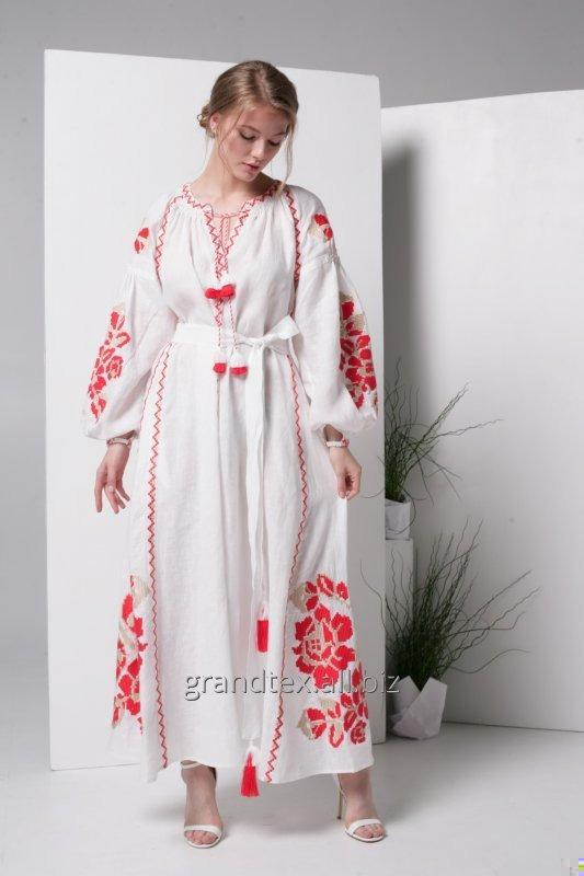 Buy Female white dress with red embroidery long linen handicraft in the style of boho collection AnnaBo