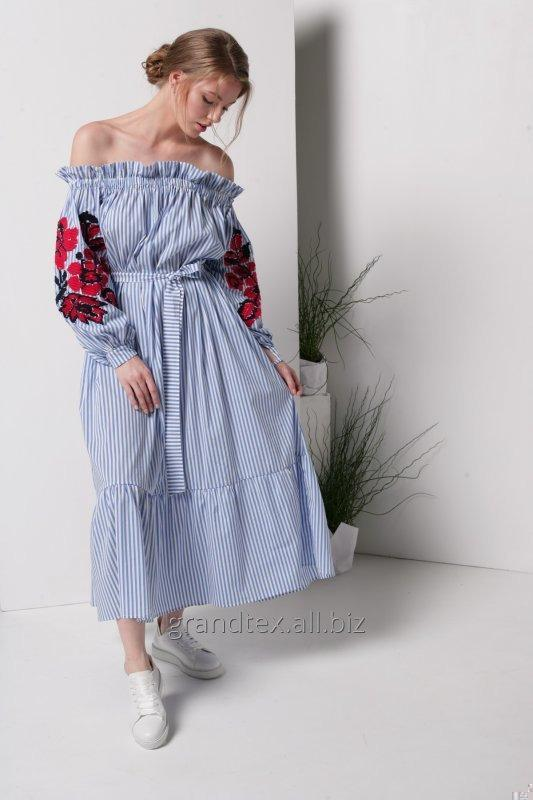 Buy Dress white with blue stripes and Ukrainian embroidery on the sleeves long with open shoulders linen 100% handmade, collection AnnaBo