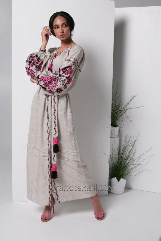Buy Dress with embroidered linen color linen long national in manual work in the style of boho collection AnnaBo