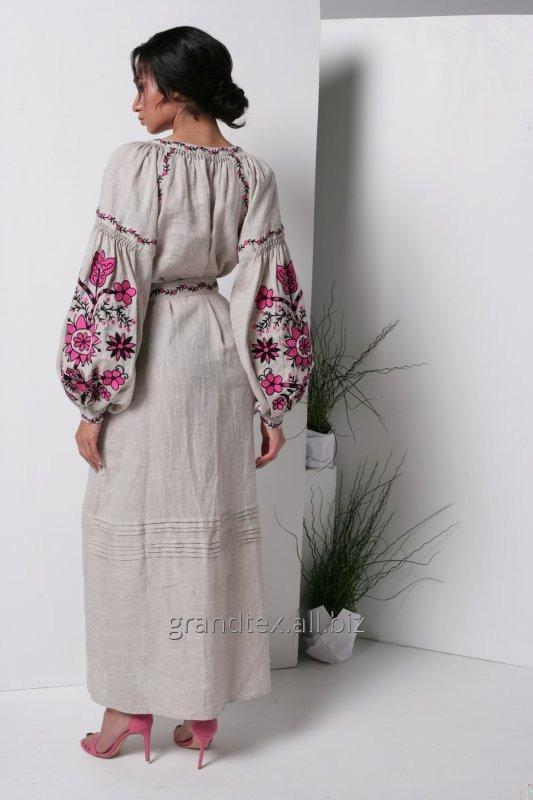 Купить Платье с вышивкой льняное длинное цвет лен национальное в ручная работа в стиле Бохо коллекция AnnaBo