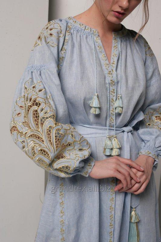 cumpără Rochie brodată în stil boho femei lungi lenjerie de albastru materiale realizate manual colecție AnnaBo