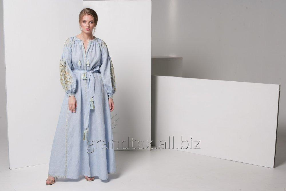 Buy Embroidered dress in boho style women long blue linen material handmade collection AnnaBo