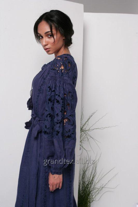 Вышитое платье коллекция AnnaBo женское длинное в пол лен 100% темно - синее ручная работа в стиле бохо