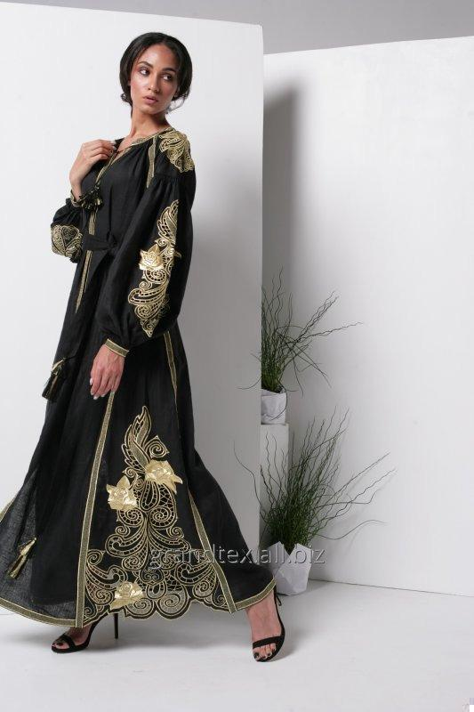 Buy Dress embroidered women's long black linen with embroidery in gold 100% handmade in boho style collection AnnaBo