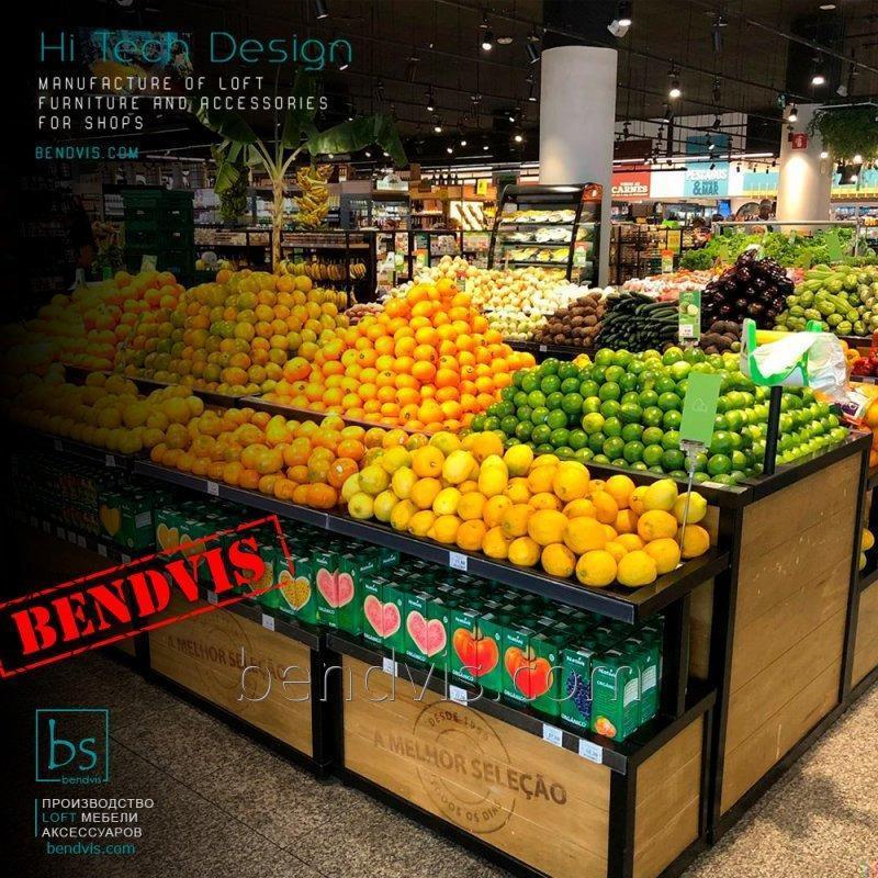 Торговые стеллажи для овощей и фруктов