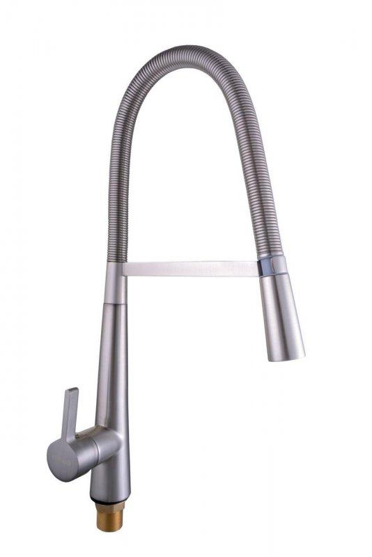 Смеситель кухонный Globus Lux LAZER GLLR 1032 StSTEEL НЕРЖАВЕЙКА с пружинным изливом