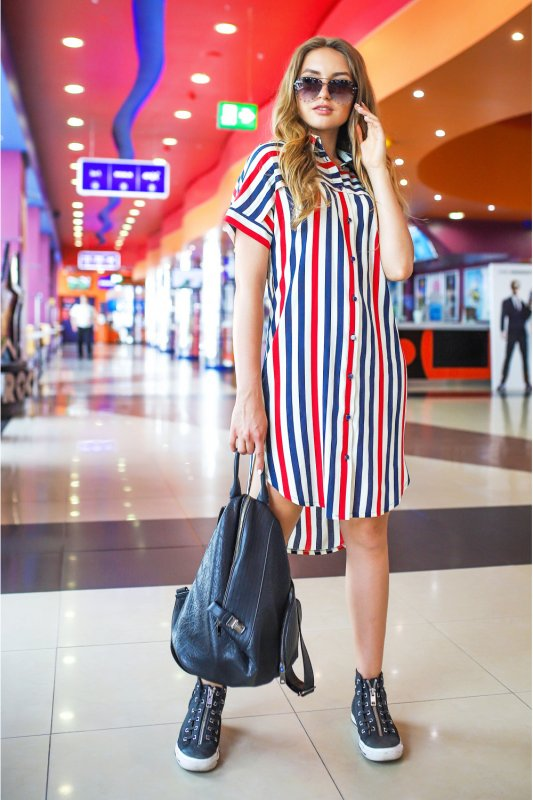 Buy Dress 01-22 - Red-cream-blue strip art 16/1