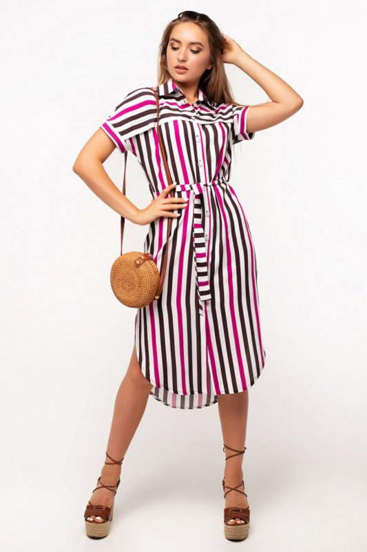 Buy Dress 01-22 - chocolate-beige fuchsia, strip art 16/3