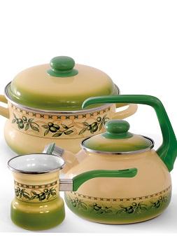 """Купить Чайник эмалированная сталь с ручкой диаметр 20 см 2,5 л 2071 """"Оливки"""" Спец.посуд"""