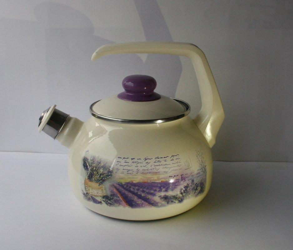 """Купить Чайник эмалированная сталь с ручкой диаметр 20 см 2,5 л 2405 """"Лаванда"""" Спец.посуд"""