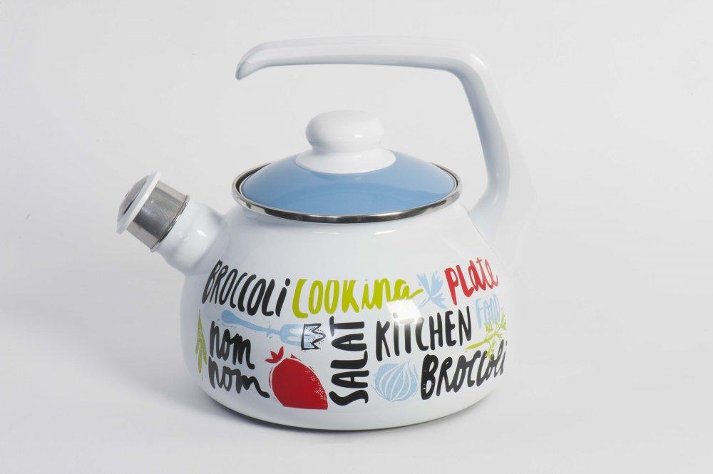 """Купить Чайник эмалированная сталь с ручкой диаметр 20 см 2,5 л 2701 """"Брокколи"""" Спец.посуд"""