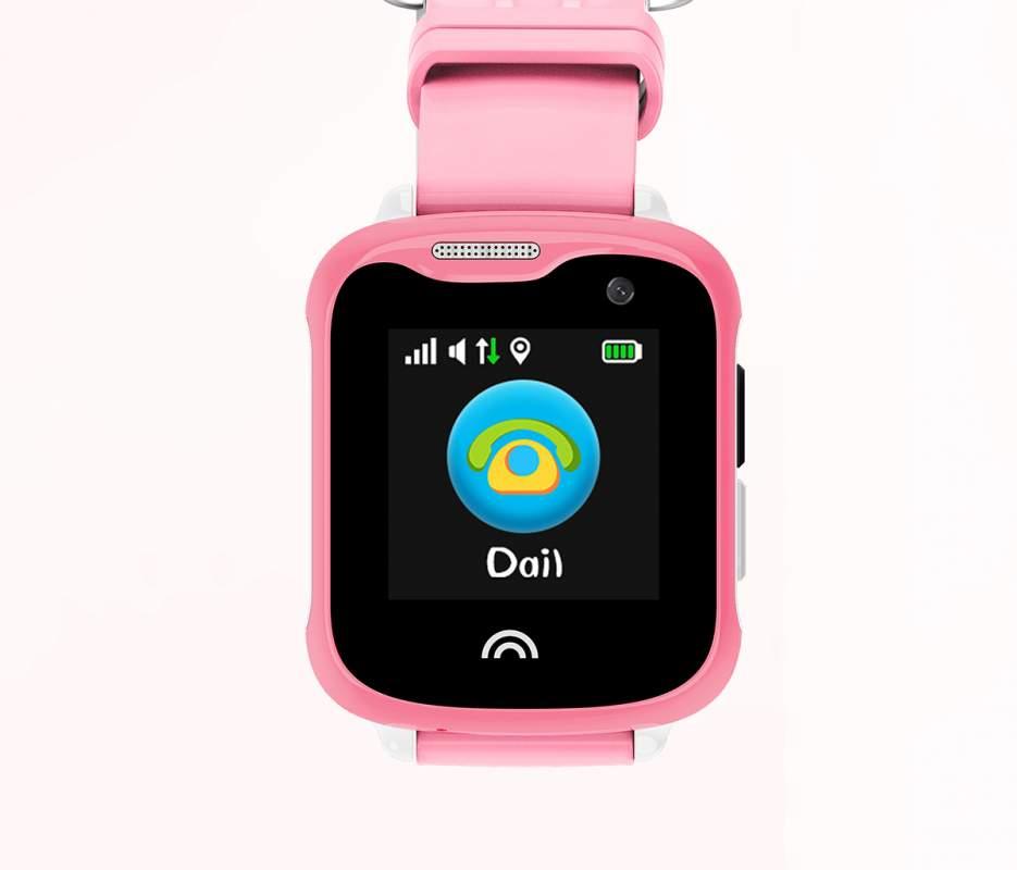 Оригинальные детские смарт часы с GPS WONLEX KT05 цвет розовый