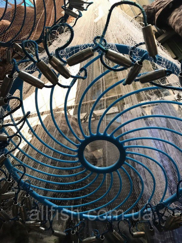 Кастинговая сеть Американка с кольцом Фрисби, диаметр 4м, высота 2м, леска яч. 12 мм