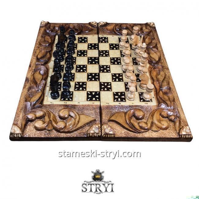Шахматы-Нарды резные из дерева, ручная работа Арт. НШ-060