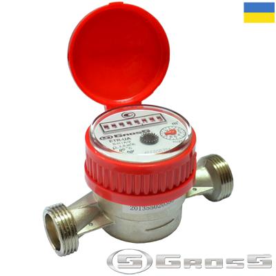 Cчётчик воды одноструйный крыльчатый Gross ETR-UA DN15/80