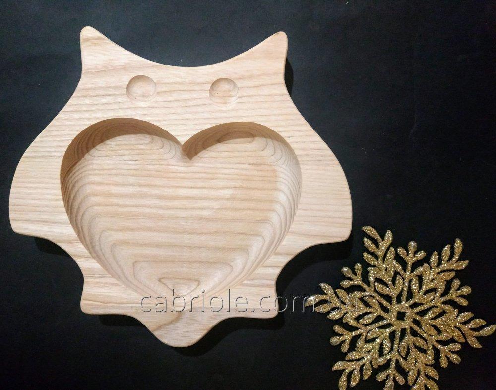 Тарелка с сердцем Совушка.