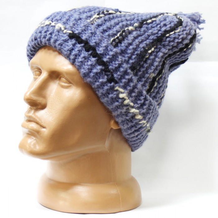 Купить Шерстяная шапка вязаная с подворотом синяя