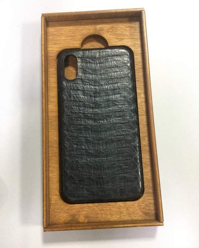 Чехол для мобильного телефона Iphone Apple X, черного цвета,натуральная кожа