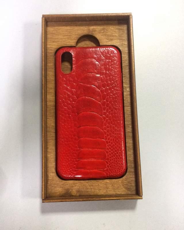 Чехол для мобильного телефона Iphone Apple X,красного цвета,натуральная кожа