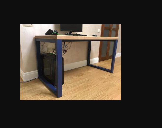 Стол металлический прямоугольный квадратная опора синего цвета