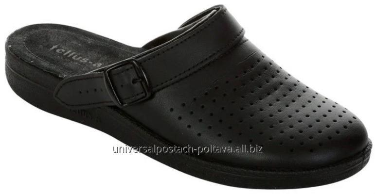Купить Сабо мужские кожаные арт. 52-07 Fl, черные с перфорацией