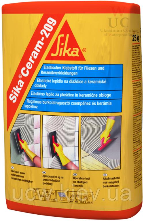 Эластичный клей для керамической плитки SikaCeram-209, 25 кг.