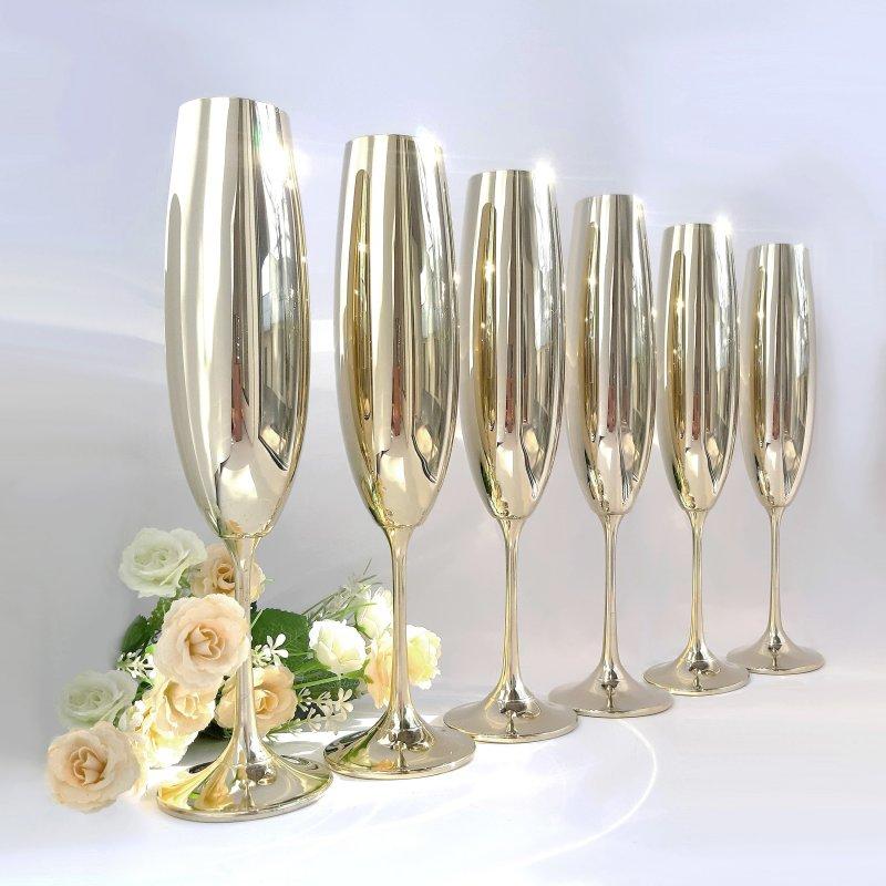 Купить Набор бокалов для шампанмкого Bohemia Milvus 250 мл золото