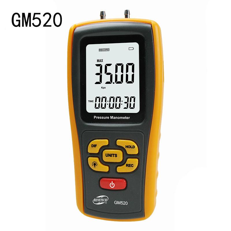 Купить Цифровой дифференциальный манометр BENETECH GM520 (0.01/35 кПа) USB интерфейс, максимальное давление до 150 кП