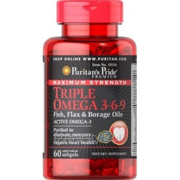Витамины Puritan's Pride Triple Omega 3-6-9 Maximum Strength (60 капсул)