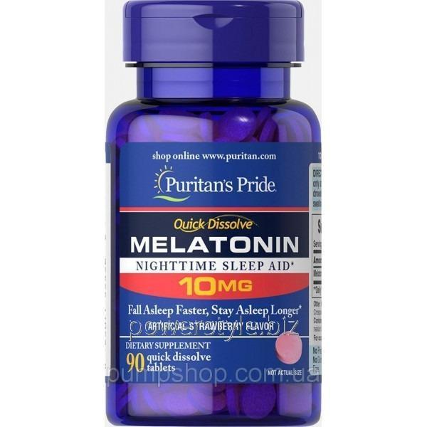 Купить Минералы Мелатонин Puritan's Pride Quick Dissolve Melatonin 10 mg 90 капс. клубничный вкус