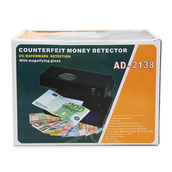 Купить Детектор валют ad-2138, оптическая линза, уф-лампа, белый свет, питание от сети 220в, компактные размеры