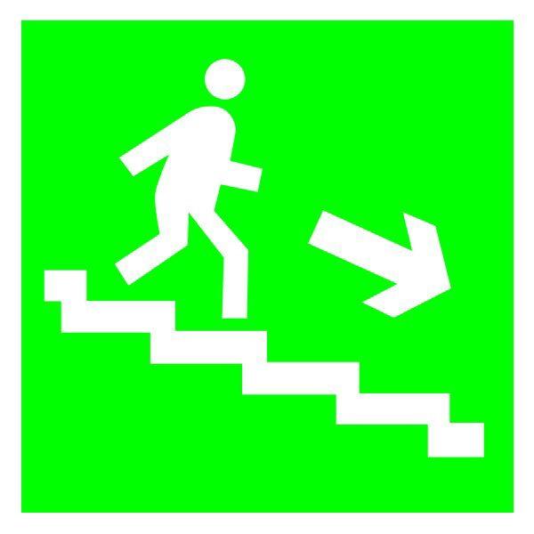 Купить Указатель Направление эвакуации по лестнице вниз 300х150 пластик ПВХ