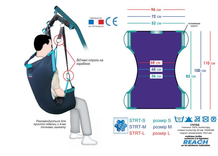 Подвеска для садовлення в кресло и для ампутированных больных
