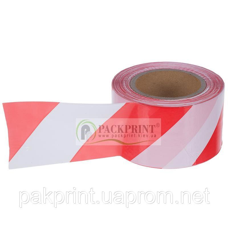 Купить Лента сигнальная оградительная красно-белая 72мм х 100м