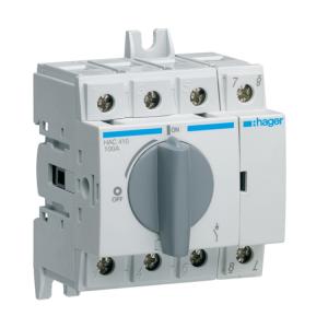 Купить Выключатель нагрузки модульный до 35мм2, 4п 100А, Hager HAC410
