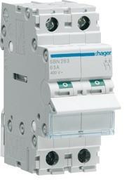 Купить Выключатель нагрузки Hager 2-полюсный 400В/63А SBN263