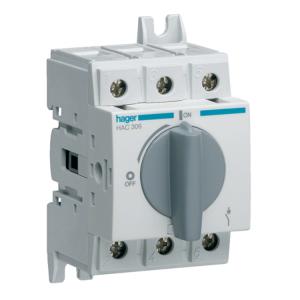 Купить Выключатель нагрузки модульный до 35мм2, 3п 63А, Hager HAC306