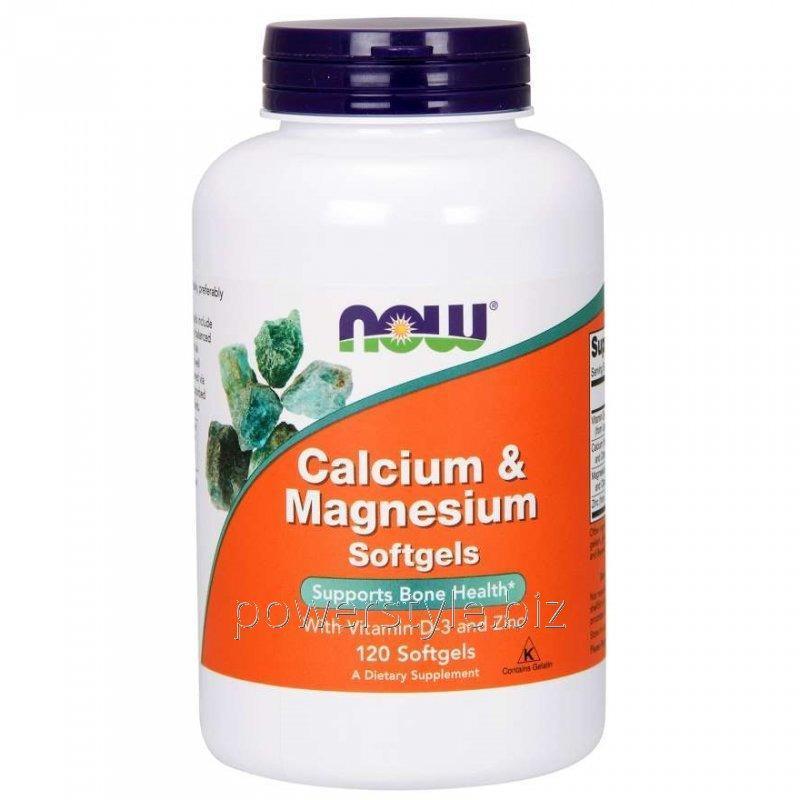 Минералы NOW Foods, Calcium & Magnesium Softgels, 120 мягких капсул