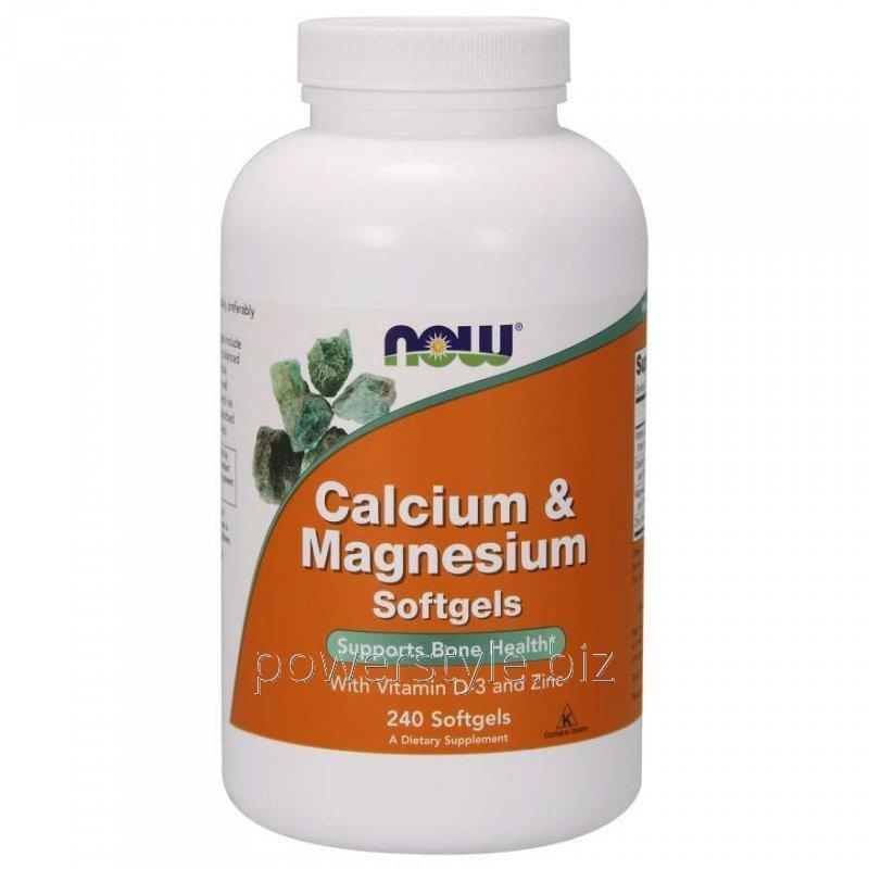 Минералы NOW Foods, Calcium & Magnesium Softgels, 240 мягких капсул