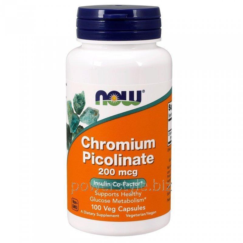 Минералы NOW Foods, Chromium Picolinate, 200 мкг, 100 вегетарианских капсул