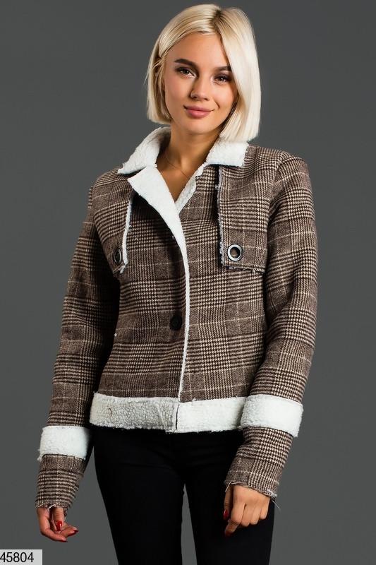 Купить Короткая женская куртка-дубленка демисезонная размеры: 42-44, 44-46
