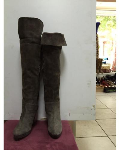 Купить Сапоги-ботфорты женские длинные замшевые демисезонные цвета капучино Vero cuoio