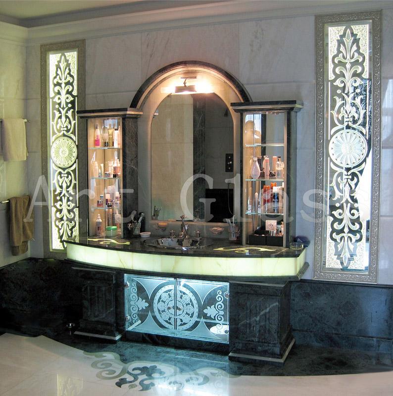 Mirror for a bathroom, mirrors with fatsety, a pattern on a mirror - stylish original design for a bathroom